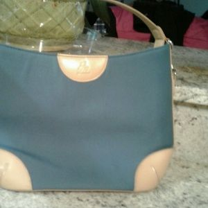 JOY MANGANO NYLON TEAL WITH TAN TRIM BAG
